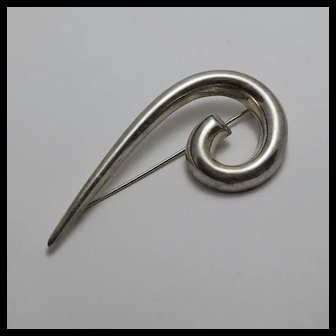 Vintage Large Modernist  Sterling Silver Pin Zina Big Abstract