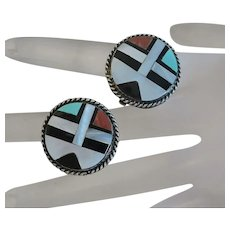 Vintage Zuni Indian Sterling Silver Inlay Sun Face Clip On Earrings Turquoise Coral MOP Onyx