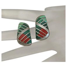 Turquoise Malachite  Coral Inlay Sterling Silver Earrings Colorful Indian