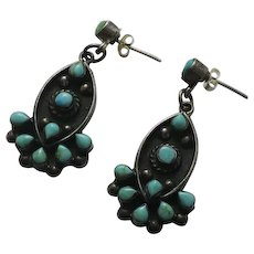 Mexican Sterling Silver Turquoise Drop Earrings