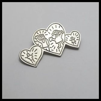 Vintage EFS Save the Children Heart Sterling Silver Pin Mexican