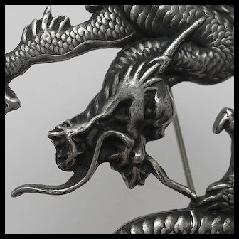 Massive Vintage Carl Schon Sterling Silver Chinese Dragon Pin RARE!!!