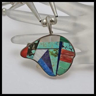 Vintage Jimmy Poyer Navajo American Indian Sterling Silver Bear Necklace Lapis Turquoise Mop Inlay