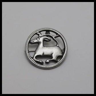 Vintage Sterling Silver Volmer Bahner  Danish Reindeer Deer Brooch Pin