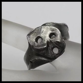 Unique Heavy Artisan Modernist Sterling Silver Mens Mans Men's Ring Screamer Size 11