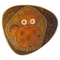 German Matte  Enamel Perli Style Owl Bird Pin