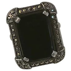 Vintage Art Deco Black Onyx Marcasite Ring Sterling Silver LCW Size 7 and 3/4