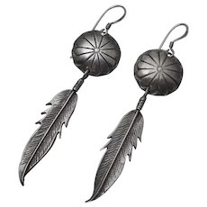 Native American Indian Sterling Silver Hand Made Conch  Feather Pierced Earrings Long Signed BB