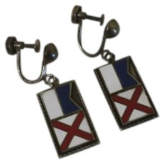 Vintage Sterling Silver Nautical Flag Screw Back On Earrings AV