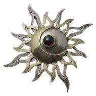 Artisan Sterling Silver  Garnet Sun Moon Pendant Pin YES