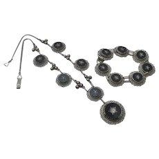 Early Vintage Mexican  Filigree Sterling Silver Filigree Black Necklace Bracelet Parure Set