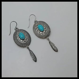 Stauer Sterling Silver Turquoise Conch Feather Earrings Long
