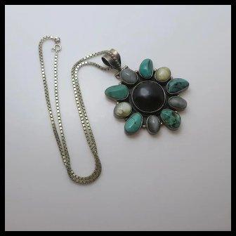 Large Vintage India Sterling Silver Turquoise Cat's Eye Gemstone Necklace Pendant