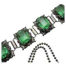 Early Mexican  Sterling Silver Green Glass Necklace  Bracelet Set NEW REDUCTION