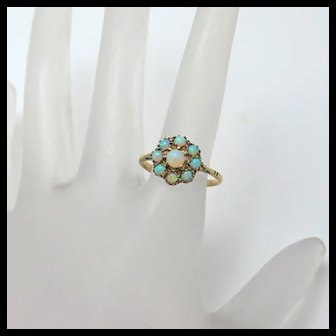 Victorian Antique Opal Flower Cluster Ring 9K Gold Size 7