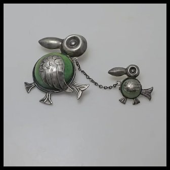 Early Mexican Sterling Silver Green Onyx Baby Duck Momma Duck Chatelaine Pin