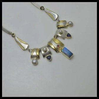 Vintage Sterling Silver Gemstone Cultured Pearl Amethyst Labradorite Drop Necklace