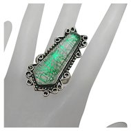 Unique Long Face Sterling Silver Art Foil Glass Ring Size 10