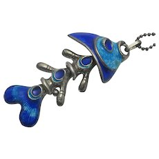 Vintage Italian Sterling Silver Blue Enamel Jointed Fish Pendant Necklace