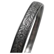 Vintage Sterling Silver Floral Flower Bangle Bracelet