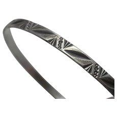 Vintage Sterling Silver Geometric Modernist  Bangle Bracelet