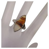 Vintage Sterling Silver Banded Agate Ring Size 7 and 1/2