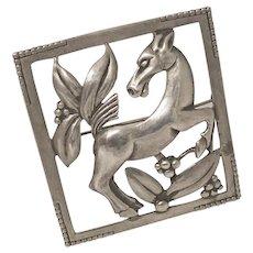 Large Vintage Bauring Baur Sterling Silver Horse Pin Brooch