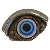 Mixed Metal Artisan Glass Eye Ring Chunky Size 8