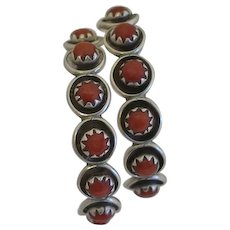 Vintage Native American Indian Sterling Silver Coral  Hoop Earrings