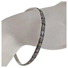 Vintage Sterling Silver Bangle Bracelet Beau Fancy Floral Flowers