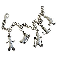 Sterling Silver Cultured Pearl Snowman Snowmen Winter Charm Bracelet Ski