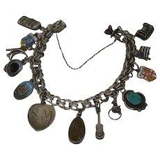 Vintage Charm Bracelet Sterling Silver Charms Native Indian Enamel Travel Loaded Moving