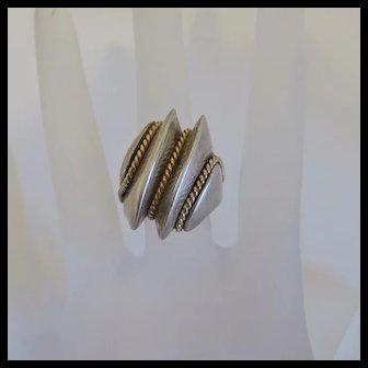Vintage Chunky MAZ 14k Gold  Sterling Modernist  Ring Size 6
