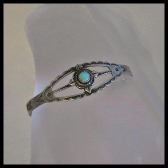Vintage Native American Indian Fred Harvey Era Sterling Silver  Turquoise Bracelet  Maisels