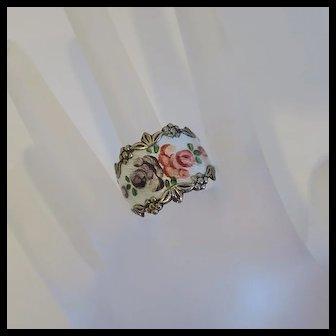 Vintage Sterling Silver Enamel Floral Flower Ring Size 10