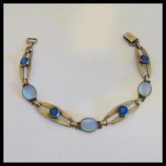 Vintage Sterling  14K Symmetalic Faux Blue Glass Moonstone Bracelet