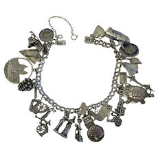 Vintage  Sterling Silver Charm Bracelet Moving Mechanical Enamel Travel  Loaded Bell Wells