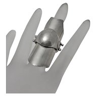 Artisan  Gothic Knight Armor Articulated Sterling Silver Ring Biker Knuckle