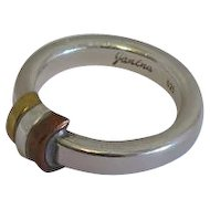 Danish Modernist Scandinavian Denmark Ring Sterling Silver Mixed Metals Janina Size 7 and 1/4