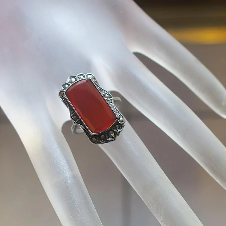 Antique Estate Jewelry made in Germany Carnelian Intaglio Sterling Silver Marcasite Brooch