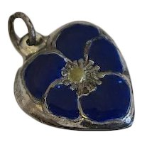 Vintage Sterling Silver Puffy Heart Charm Blue Enamel Pansy Flower NEW REDUCTION