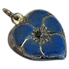 Vintage Sterling Silver Puffy Heart Charm Blue  Enamel Pansy Flower