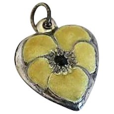 Vintage Sterling Silver Puffy Heart Charm Yellow  Enamel Pansy Flower