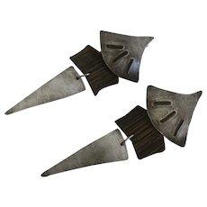 Unique Long Artisan Modernistic Sterling Silver Wenge African Wood Earrings Julie Schmidt