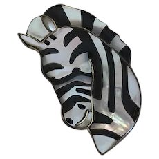 Sterling Silver Mop Mother Of Pearl Onyx Handmade Inlay Zebra Pin Pendant Large