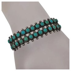 Vintage Native American Indian Fred Harvey Era Sterling Silver Turquoise Bracelet