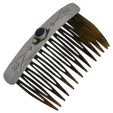 Vintage Native American Navajo Sterling Silver Hand Made Hair Comb Lapis