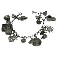 Vintage Sterling Silver Charm Bracelet Moving  Mechanical Mother Mom Baby Hearts Beau