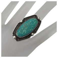 Vintage Native American Indian Sterling Silver  Turquoise Long Face Ring Size 8