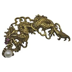 Franklin Mint Dragon Pin Pendant Sterling Silver Gold Wash Ruby Eyes Cultured Pearl